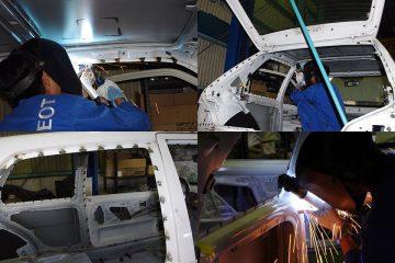 ボディ開口部には大量のスポット溶接を追加